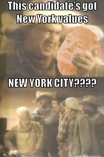 [two images screen captured from 1994 Pace Picante Salsa commercial showing a cowboy holding a jar of salsa but Trump's head has been added. Text is added as a caption: 'This candidate has new york values' 'New York City????'