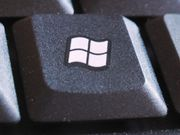 Public domain image of the white four-segment Windows key icon shown on a black key.  From SXC via Wikipedia; artist or photographer unknown; creation date unknown.